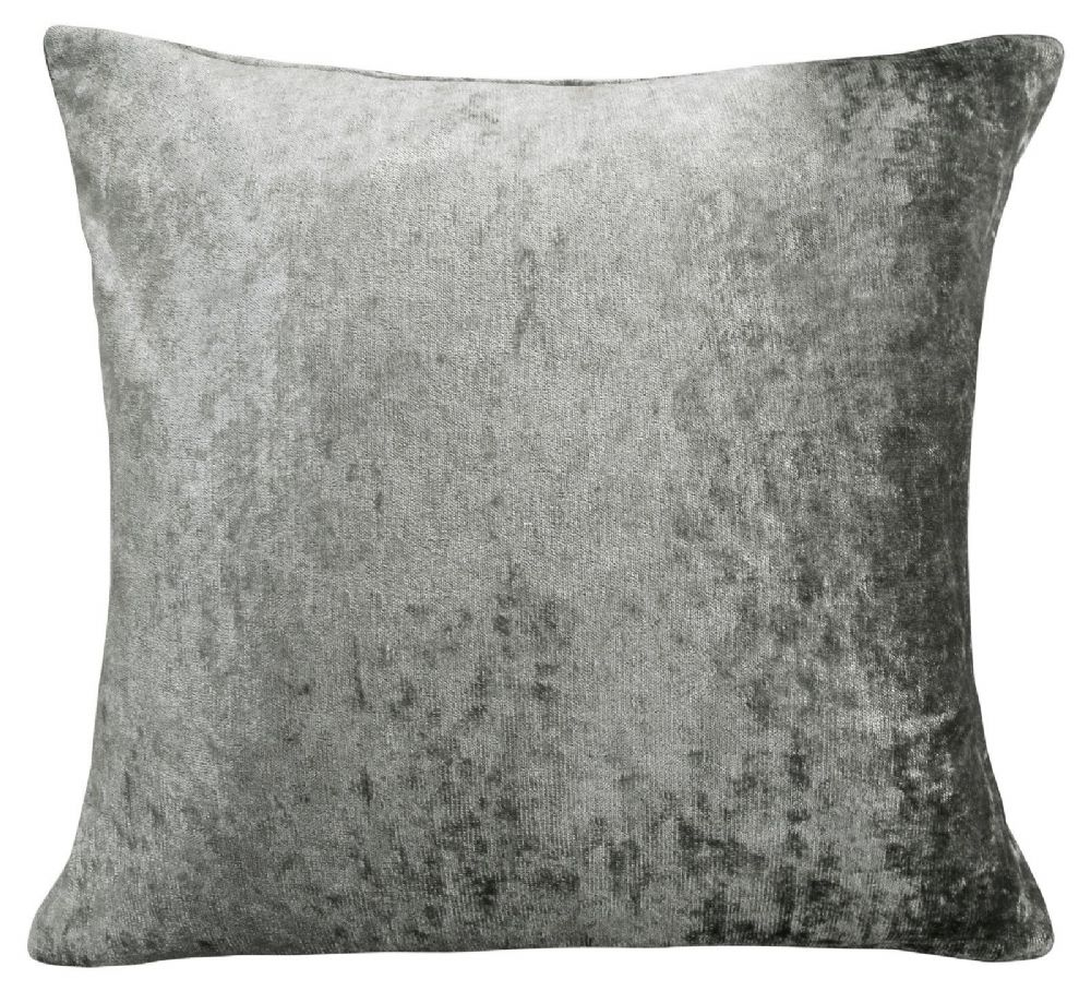 LUXURY CRUSHED VELVET PLAIN  FILLED CUSHION SILVER COLOUR